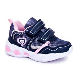 EVE Sportowe Buty Dziecięce Świecące Na Rzepy Granatowe Scarlet 5