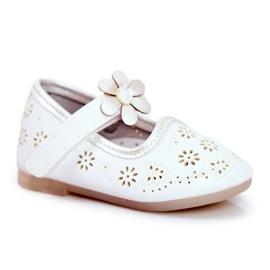 Apawwa Balerinki Dziecięce na Rzepy Kwiatuszek Białe Flored 5