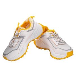 Białe sneakersy sportowe z żółtymi wstawkami RAL-69 żółte 1