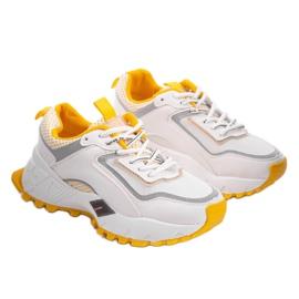 Białe sneakersy sportowe z żółtymi wstawkami RAL-69 żółte 2