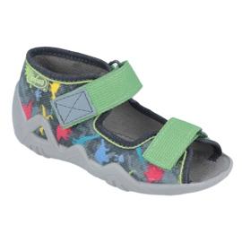 Befado obuwie dziecięce 250P092 szare wielokolorowe zielone 1