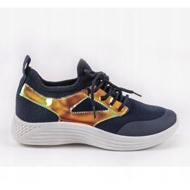 Granatowe obuwie sportowe HB-42 złoty 1