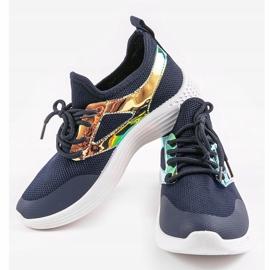 Granatowe obuwie sportowe HB-42 złoty 2