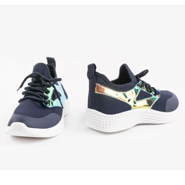 Granatowe obuwie sportowe HB-42 złoty 3
