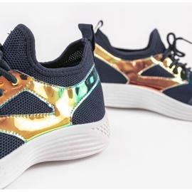 Granatowe obuwie sportowe HB-42 złoty 4