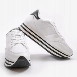 Białe modne damskie obuwie sportowe 230-3 4