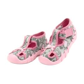 Befado obuwie dziecięce 190P084 szare różowe 4