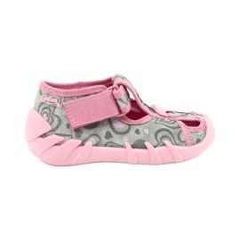 Befado obuwie dziecięce 190P084 szare różowe 2