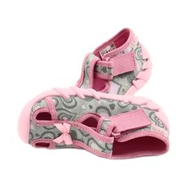 Befado obuwie dziecięce 190P084 szare różowe 5