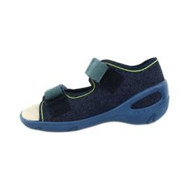 Befado obuwie dziecięce pu 065P142 granatowe zielone 2