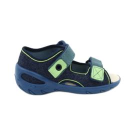 Befado obuwie dziecięce pu 065P142 granatowe zielone 1