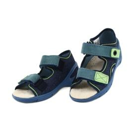 Befado obuwie dziecięce pu 065P142 granatowe zielone 3