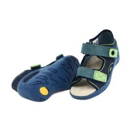 Befado obuwie dziecięce pu 065P142 granatowe zielone 4