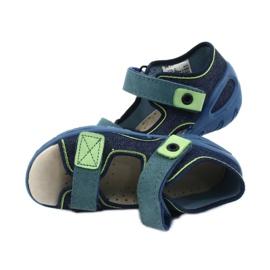 Befado obuwie dziecięce pu 065P142 granatowe zielone 5