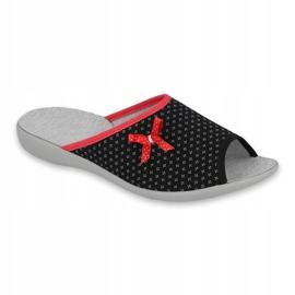 Befado obuwie damskie pu 254D109 czarne czerwone 1
