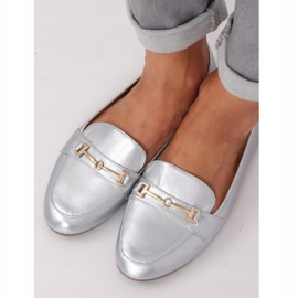 Mokasyny metaliczne srebrne 9F176 Silver srebrny szare 2