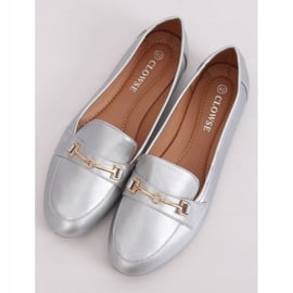 Mokasyny metaliczne srebrne 9F176 Silver srebrny szare 1
