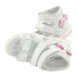 Sandałki z kokardką Ren But 1489 białe posrebrzane różowe srebrny 1