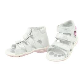 Sandałki z kokardką Ren But 1489 białe posrebrzane różowe srebrny 3