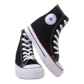 Czarne sneakersy na koturnie sznurowane B706-1 3
