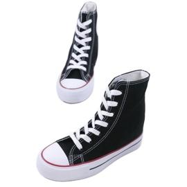 Czarne sneakersy na koturnie sznurowane B706-1 1