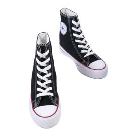 Czarne sneakersy na koturnie sznurowane B706-1 2