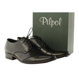 Półbuty buty męskie skórzane Pilpol 1138 czarne 4