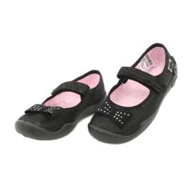 Befado obuwie dziecięce kapcie balerinki 114x240 czarne srebrny 2
