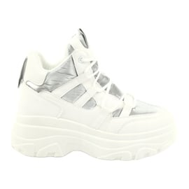 Evento Wysokie buty sportowe 20BT26-3192 białe srebrny 1