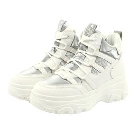 Evento Wysokie buty sportowe 20BT26-3192 białe srebrny 4