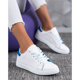 SHELOVET Modne Buty Sportowe białe niebieskie 1