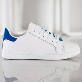 SHELOVET Modne Buty Sportowe białe niebieskie 3