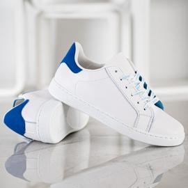SHELOVET Modne Buty Sportowe białe niebieskie 4