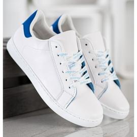 SHELOVET Modne Buty Sportowe białe niebieskie 5