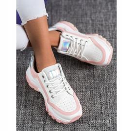 SHELOVET Sneakersy Z Eko Skóry białe różowe 1