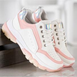 SHELOVET Sneakersy Z Eko Skóry białe różowe 2