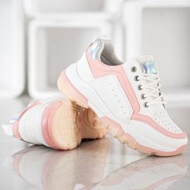 SHELOVET Sneakersy Z Eko Skóry białe różowe 3