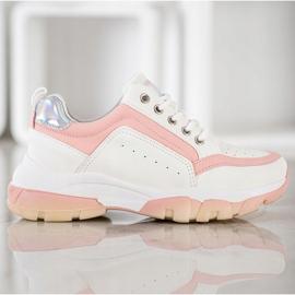 SHELOVET Sneakersy Z Eko Skóry białe różowe 4