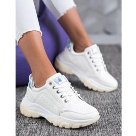 SHELOVET Sneakersy Z Eko Skóry białe 5