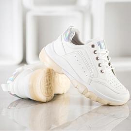 SHELOVET Sneakersy Z Eko Skóry białe 3