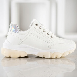 SHELOVET Sneakersy Z Eko Skóry białe 4