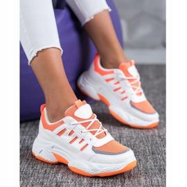 SHELOVET Wygodne Sneakersy Z Siateczką białe pomarańczowe 1
