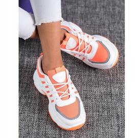 SHELOVET Wygodne Sneakersy Z Siateczką białe pomarańczowe 2