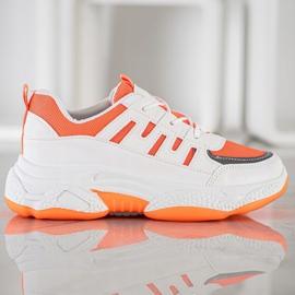 SHELOVET Wygodne Sneakersy Z Siateczką białe pomarańczowe 3