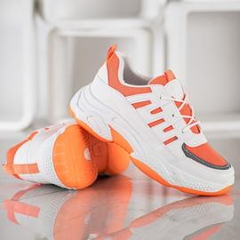 SHELOVET Wygodne Sneakersy Z Siateczką białe pomarańczowe 4