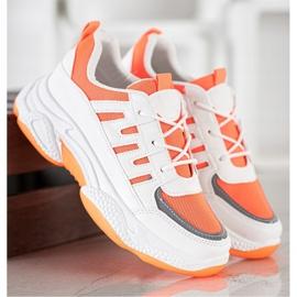 SHELOVET Wygodne Sneakersy Z Siateczką białe pomarańczowe 5