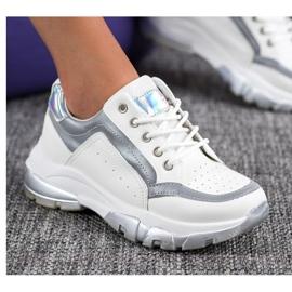 SHELOVET Sneakersy Z Eko Skóry białe szare 5