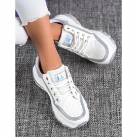 SHELOVET Sneakersy Z Eko Skóry białe szare 1
