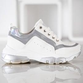 SHELOVET Sneakersy Z Eko Skóry białe szare 2