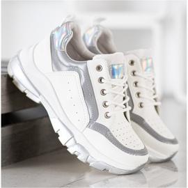 SHELOVET Sneakersy Z Eko Skóry białe szare 3
